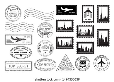 Postal stamps and postmarks. Set of various postmarks and postage stamps with city silhouettes. Air mail, top secret, express delivery, post office.  Santa's Air Mail.  Isolation. Vector illustration