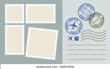 Postal stamps templete vector set. Post office stamp. Air post stamp.