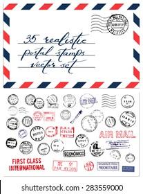 Postal stamps vector set