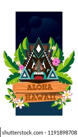 Сommemorative postcard Aloha Hawaii featuring a traditional triangular Hawaiian mask surrounded by flowers and leaves. Dark blue background. Vector
