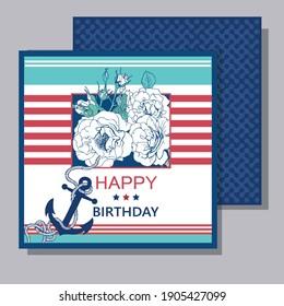 Postcard army marine motive Happy birthday  with anchor