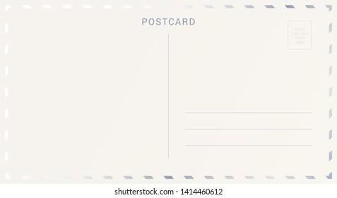 Postcard back decorated with silver or platinum foil. Elegant travel card design