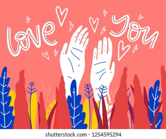 Postcard or banner about love. St. Valentine's day illustration. Hand, love, plants.