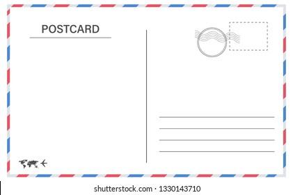 Postcard border template. Creative vector illustration of postcard