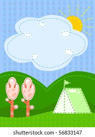 Postcard with a camping site with text space in the cloud - vector