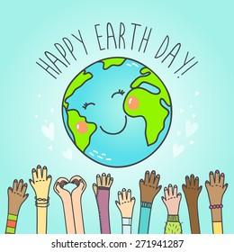 Postcard with cute cartoon Earth globe and hands of people of different nationalities . Vector illustration.