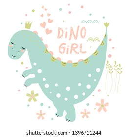 Postcard with cute dinosaur, inscription and hearts on white background. Vector design.