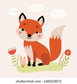 Postcard with a cute Fox. Vector illustration