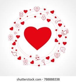 Postcard to the day of Valentine's. Valentine's day print and web. Vector illustration for Valentine's day  greeting cards