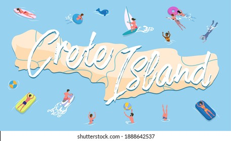 Postcard dedicated to Crete. People on vacation swim around the island in Greece vector illustration. Travel map with an inscription. Tropical landscape with characters enjoying sun on vacation