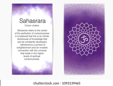 Postcard with description and illustration of one of the seven chakras - Sahasrara. Seventh, crown chakra, symbol of Buddhism, Hinduism. Violet watercolor fog on background.