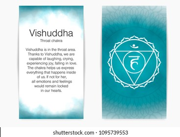 Postcard with description and illustration of one of the seven chakras - Vishuddha. Fifth, throat chakra, symbol of Buddhism, Hinduism. Blue watercolor fog on background.