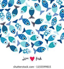 Postcard with fish and polka dot.