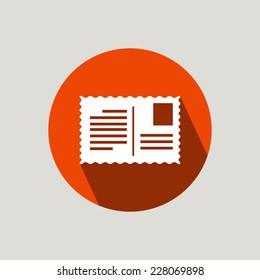 A postcard - flat design icon