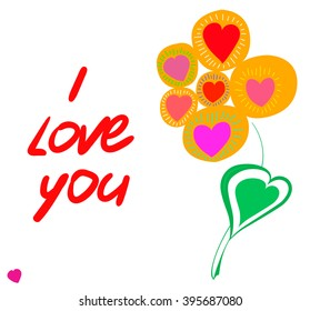 Postcard flower and the text I love you. White background. Vector.