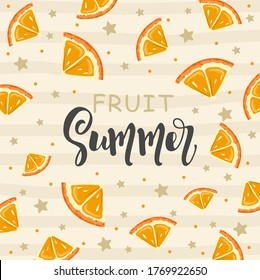 """Postcard with Fresh Orange, tropical leaves, flowers, slices and geometry. Hand calligraphy """"Fruit Summer"""". Label, banner advertising element. Vector illustration. Printing on fabric, paper, postcards - Shutterstock ID 1769922650"""