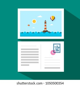 Postcard - Front and Back Side with Stamp, Mark and Ocean Landscape with Lighthouse. Vector Flat Design Illustration.