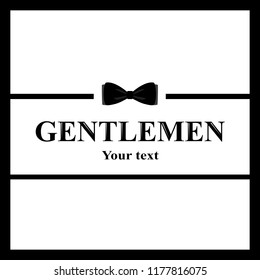 A postcard of a gentleman. The bow tie icon isolated on white background. Flat design. Vector illustration