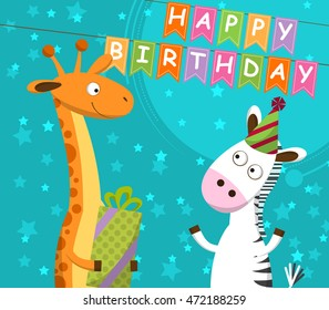 Postcard with giraffe and zebra, which celebrate the birthday. Vector illustration