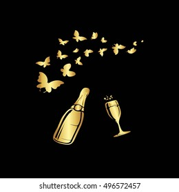 Postcard. Gold patterns on a black background.Gold butterfly and a gold bottle of champagne.