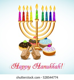 Postcard for greetings with Festival of Lights, Feast of Dedication Hanukkah. Menorah with colorful candles, dreidels and jewish sufganiots on halftone background. Vector illustration