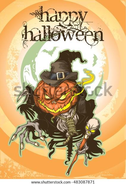 Postcard Happy Halloween with evil Pumpkin-head