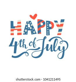 Postcard to the Happy independence day card United States of America, 4 th of July. Vector poster.