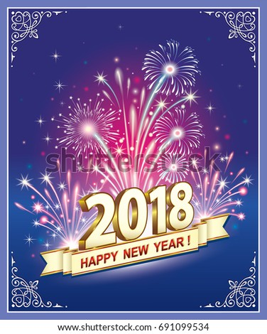 Postcard Happy New Year 2018 Against Stock Vector Royalty Free