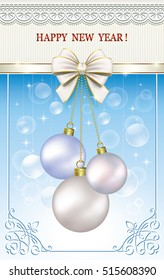 Postcard Happy New Year on blue background with ball and ribbon with a bow