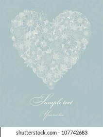 Postcard with heart and flowers blue