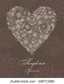 Postcard with heart and flowers brown