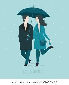 "Postcard ""Hello  winter"".Cute girl and boy under umbrella. Vector illustration"