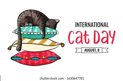 Postcard for the international cat day on August 8. Funny cartoon cat and little mouse are sleeping on a pile of colored pillow. Happy animals Print to greeting card, poster, flyer