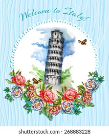 Postcard, Italy, Landmarks - the leaning tower of Pisa