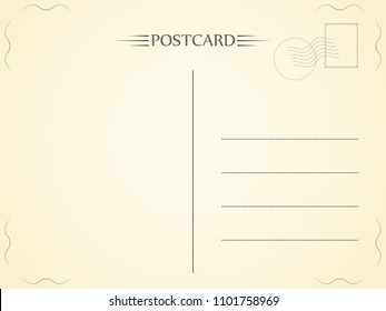 Postcard. Letter with a light texture. Paper telegram. Vector illustration.