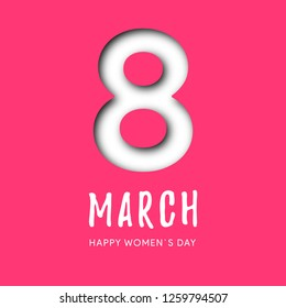 Postcard to March 8 in paper cut style. Vector Illustration suitacle for brochures, postcards, advertisements, banners. Congratulations to the Women's Day.