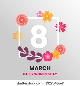 Postcard to March 8, with paper flowers. Illustration can be used in the newsletter, brochures, postcards, tickets, advertisements, banners. Congratulations to the Women's Day. - Vector