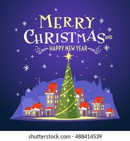 Postcard Merry Christmas Beautiful Inscription Vector Stock Vector ...