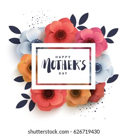 Postcard to mother's day, with paper flowers. Illustration can be used in the newsletter, brochures, postcards, tickets, advertisements, banners. Congratulations on holiday