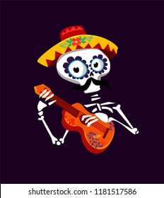 Postcard on the day of the dead, Vector Illustration. the skeleton plays the guitar.