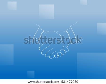 Sch Outline   Postcard Outline Shakes Hands Blue Background Stock Vector Royalty