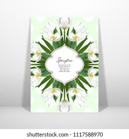 Postcard with a pattern of white tulips. 3D