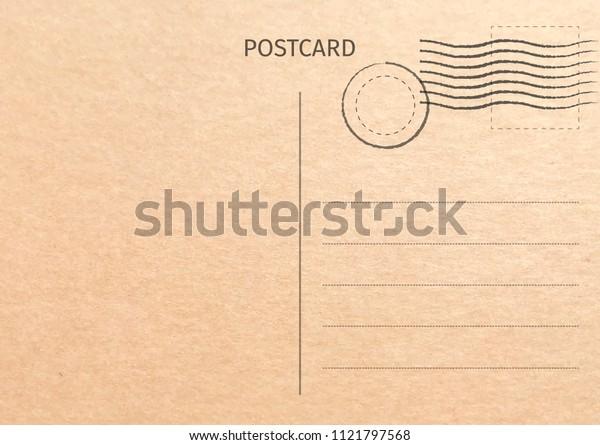 Postcard. Postal card illustration for design. Travel card design. Vintage Postcard. Old paper texture. Vector illustration.