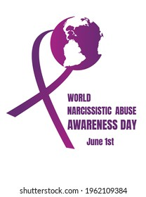 Postcard rectangular purple ribbon, planet earth and text World Narcissistic Abuse Awareness Day isolated on white background. Event to prevent the next victims of mental illness narcissism.