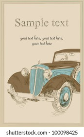 Postcard with retro car
