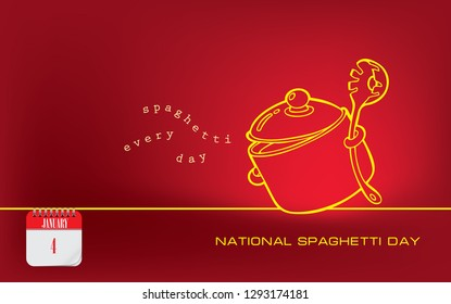 Postcard spaghetti every day - National Spaghetti Day