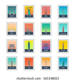 postcard stamps set in line style. eight countries landmarks. great Britain, France, USA, uae, Australia, Hong Kong, Italy, japan. modern vector collection