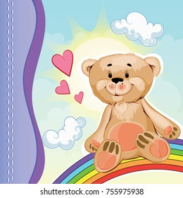Postcard teddy bear beige color sits on a rainbow in the sky, around the heart and clouds
