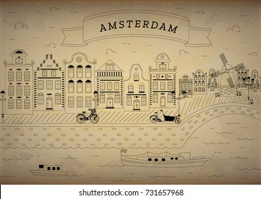 Postcard template with Amsterdam, Holland, Netherlands. View city with canals,, boats, bicycles. Dutch traditional historical buildings, silhouettes. Monochrome doodle drawing isolated vector.