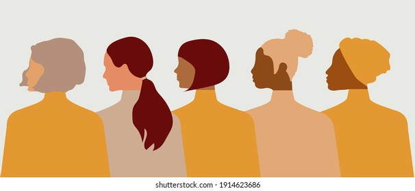 Postcard template with women of different nationalities and religions. Modern vector graphics.